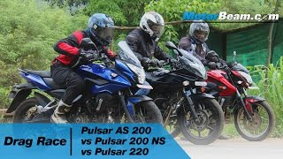 Pulsar AS 200 vs Pulsar 200 NS vs Pulsar 220 - Drag Race | MotorBeam