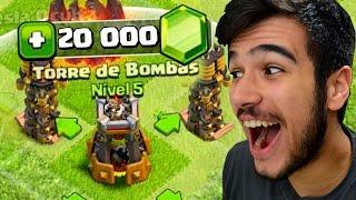 GASTEI 600 REAIS COM A NOVA DEFESA TORRE DE BOMBAS NO CLASH OF CLANS!! 20 MIL GEMAS !!