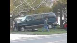 Van Smashes through Telephone Pole and Over Speed Limit Sign!!!