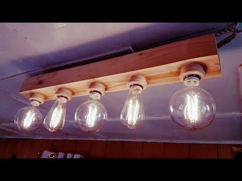 DIY Vintage lamp using old wood pallets and LED Edison bulbs