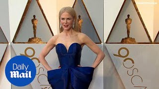 Nicole Kidman in strapless navy gown at the 2018 Oscars - Daily Mail