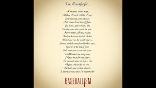 """""""I am thankful for...""""  ( a baseball poem). Recited here by Tim Teacher."""