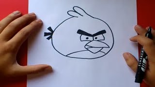Como dibujar el pajaro rojo paso a paso - Angry birds | How to draw the red bird - Angry birds