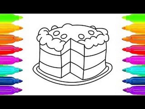 Como desenhar bolo livro para colorir para crianças | Aprendendo a ...