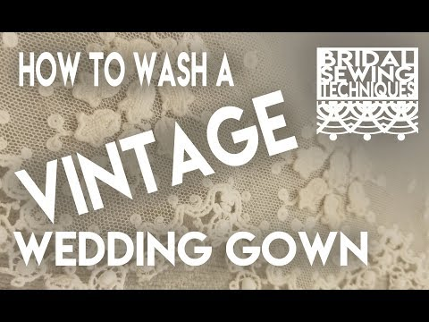 How to wash a vintage silk wedding gown. How to remove or cover bridal gown stains.
