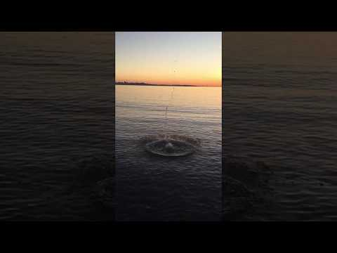 Sand Globe Splash into San Francisco Bay (sound on recommended!)