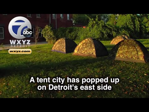 Group erects tent city for Detroit homeless on city's east side