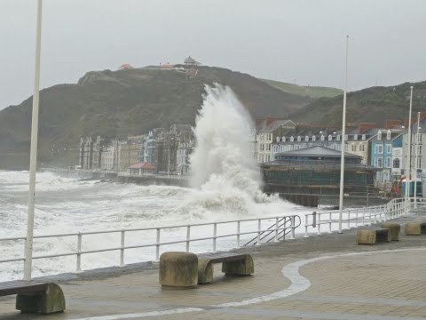 Aberystwyth waves hitting the new bandstand, 29 Nov 2015