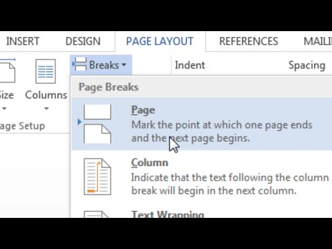 How To Insert A Page Break In Word; Page Break; Start On New Page
