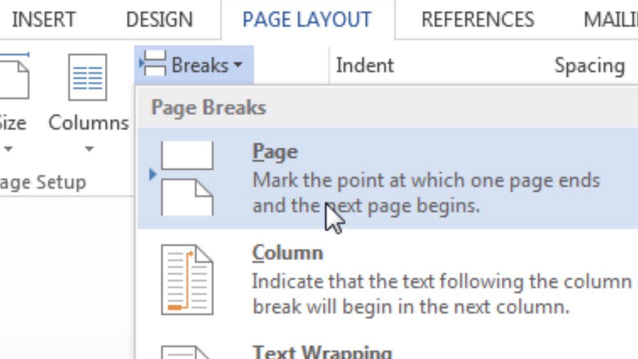 How To Insert A Page Break In Word; Page Break; Start On