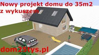 """Nowy projekt domu 35m2 z poddaszem murowany """"wykusz"""" Dom bez pozwolenia na budowę #pawełwaga"""
