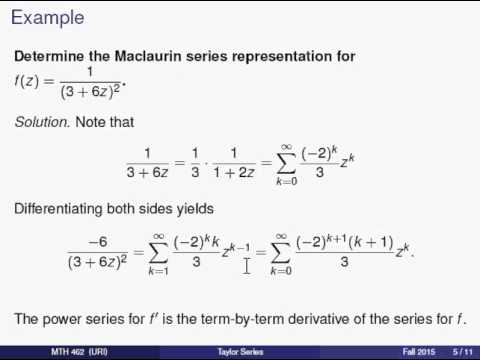 Complex Taylor Series 2 Some Examples Youtube