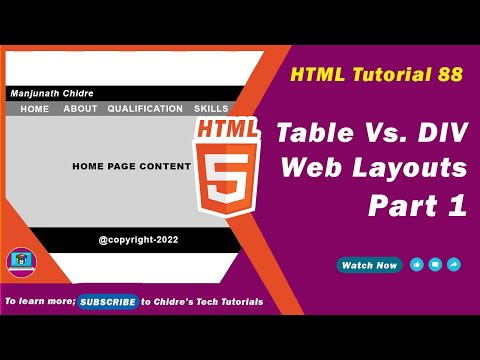 HTML Tutorial 88 - Table Layout Vs. Div Layout - Part 1