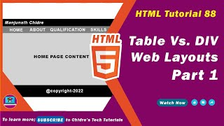 hTML video tutorial - 88 - layout design using table vs div tag - Part 1