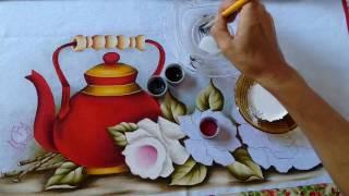 Pintando Chaleira Vermelha com Rosas Part. 2 – Ivanice Isabel