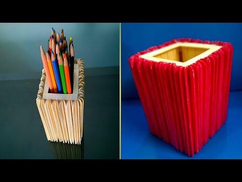 Ice cream sticks pencil holder diy   popsicle sticks new idea