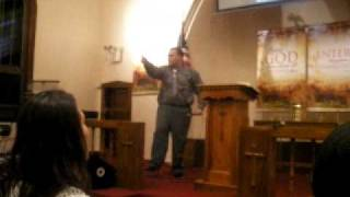 Evg. Peter Aleman III preaching in Paterson Praise time
