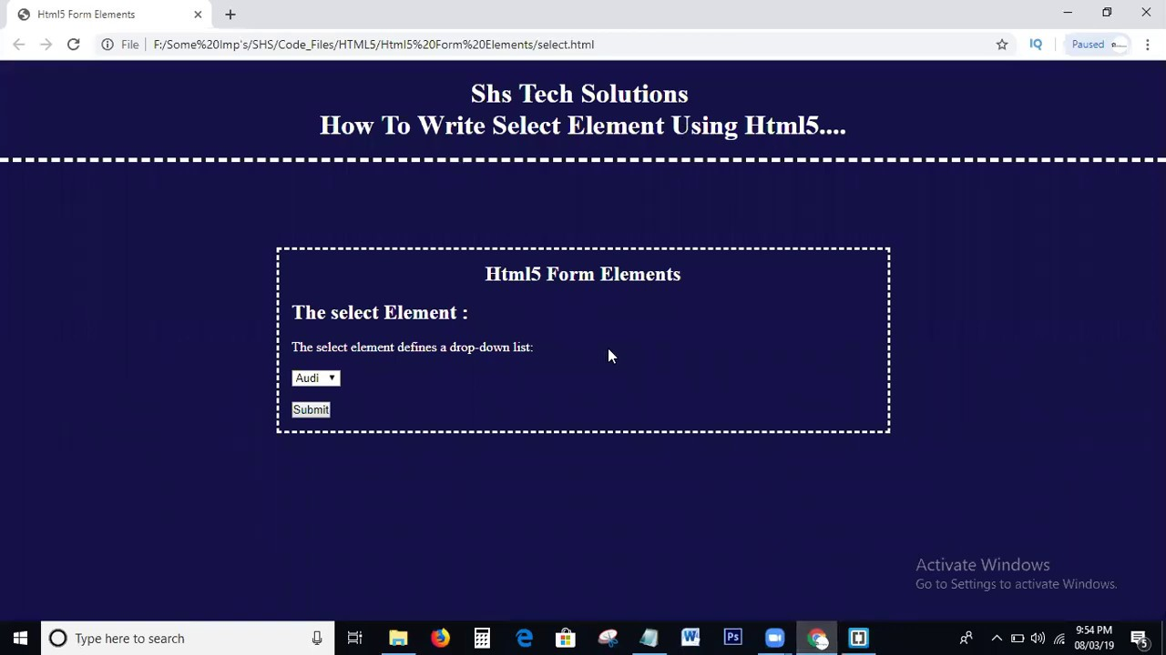 Select Form Element In Html | Html5 Form Elements | Select ...