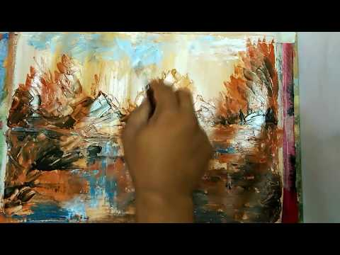 How To Paint/Abstract/ Brush and Palette knife /Acrylic Abstract Painting Tutorial/ #13