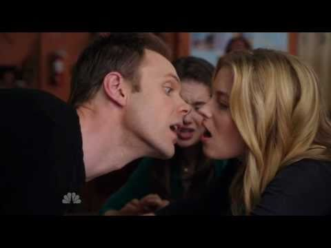 Britta and Jeff   THE tongue kiss!!  Community  Gillian Jacobs & Joel McHale