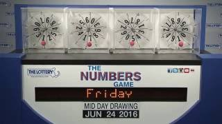 Midday Numbers Game Drawing: Friday, June 24, 2016