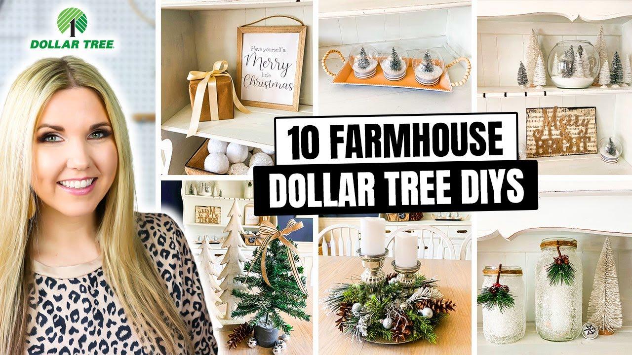 10 Farmhouse Dollar Tree Christmas DIYs - Super Easy to Create!!