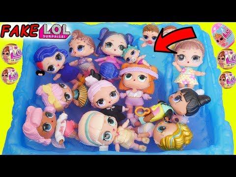 LOL Surprise Dolls Fake Vs Real Lil Sisters Surprise Egg + Confetti Pop Dress Up, Teen Titans Go!