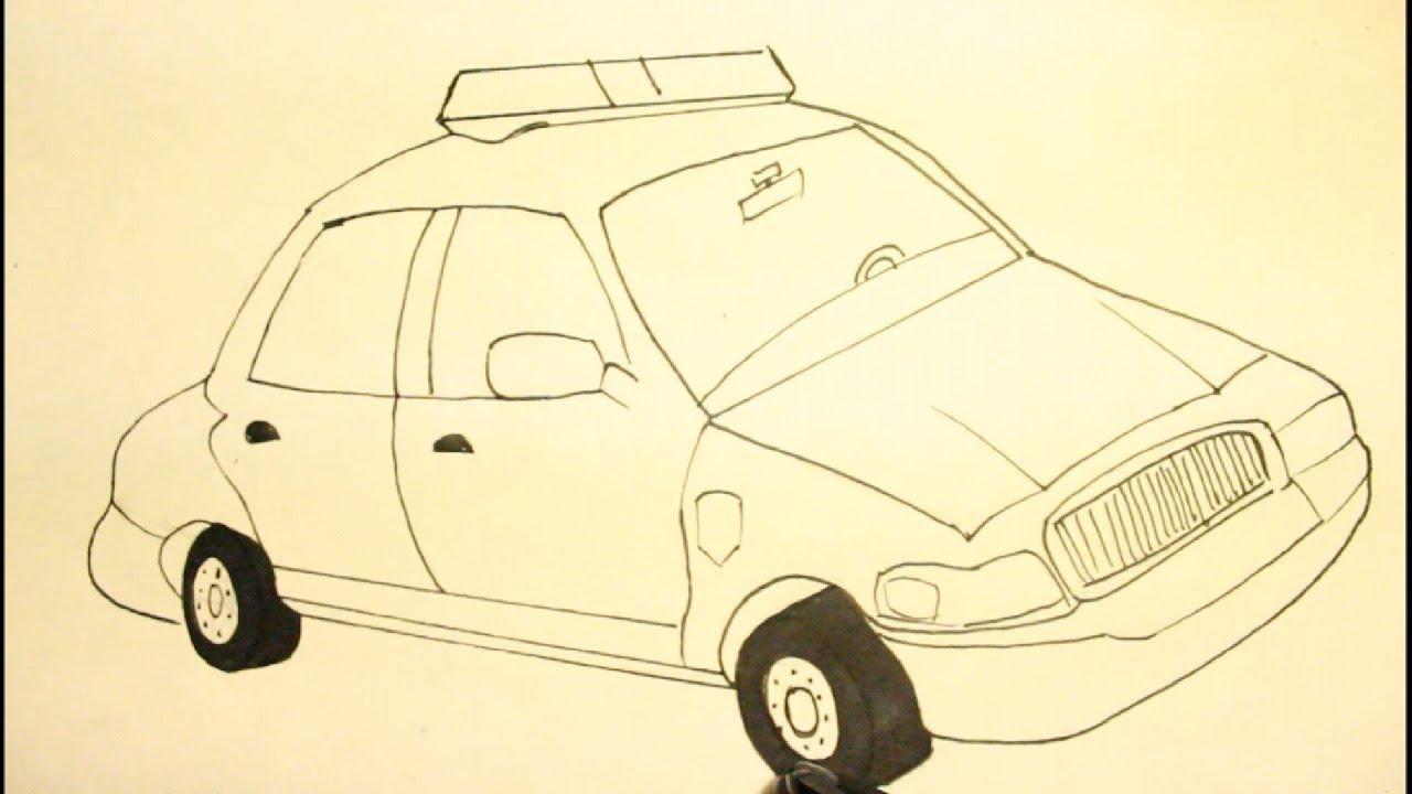 How to Draw Cartoons Police Car Easy Step by Step Como ...