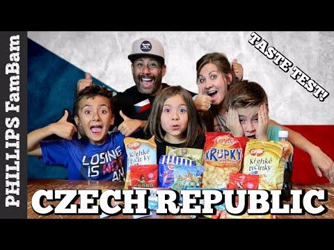 CZECH REPUBLIC FOOD TASTE TEST | AMERICANS TRY CZECH SNACKS & TREATS | PHILLIPS FamBam Taste Test