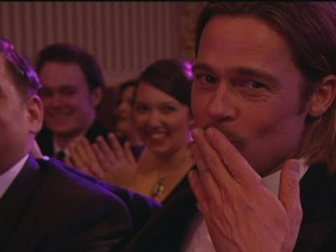 Stephen Fry makes Brad Pitt air kiss the TV audience at the BAFTAs