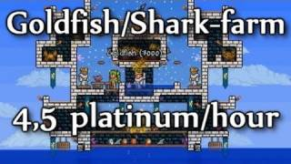 Terraria - 4,5 platinum/hour: Goldfish and Shark farm (goldfarming part 3)