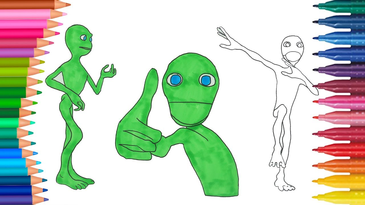 Yeşil Uzaylı Yeni Dans çocuklar Için Boyama Sayfası Boyama Ve