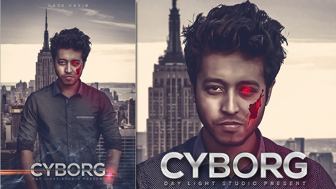cyborg photo manipulation tutorial movie poster design