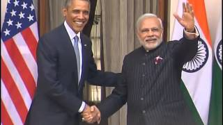 PM Modi receives US President Barack Obama at Hyderabad House