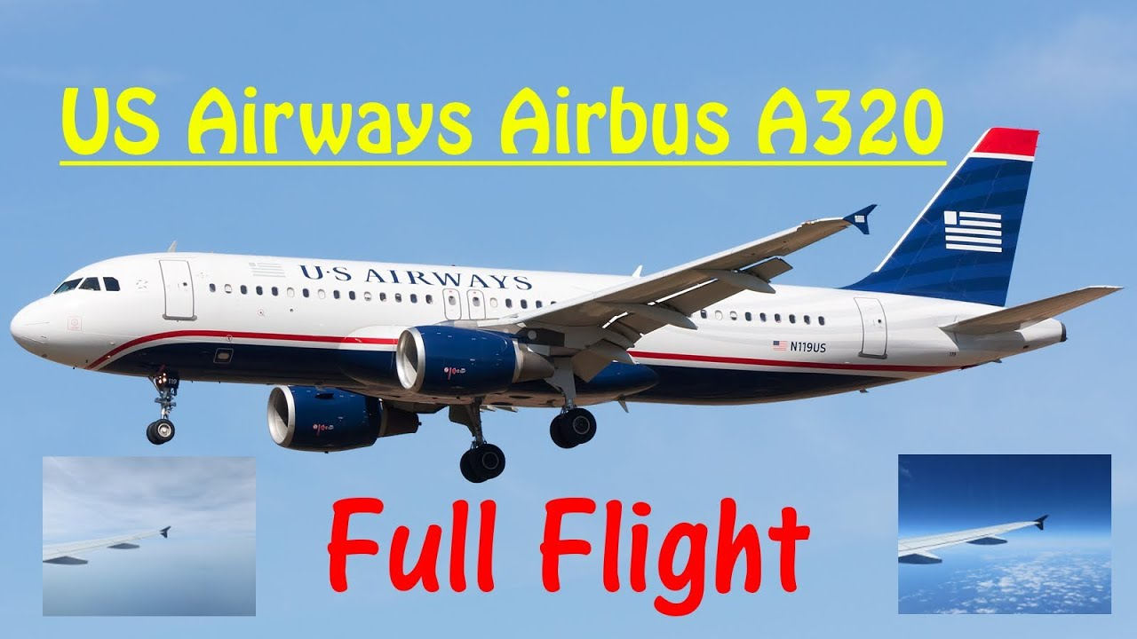US Airways Airbus A FULL FLIGHT EXPERIENCE In HD Flight - Us airways travel map