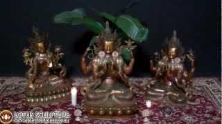Brass Buddhist Statues, Bodhisattva Statues, Avalokiteshvara, Tara