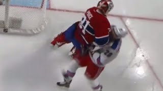 Carey Price Hit on Chris Kreider *Added Angle (10/15/15)