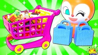 アンパンマン ドキンちゃんのお店屋さんでお買い物ごっこ❤︎おもちゃでお料理♪ままごとトントンキッチンでお菓子作り❤︎リアルなショッピングカートやレジスターや店員さんのアニメ♪人気動画 連続再生