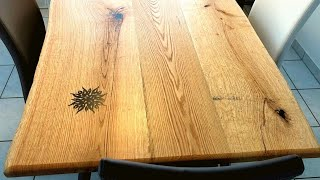 Tattooed live edge dining table - Oak