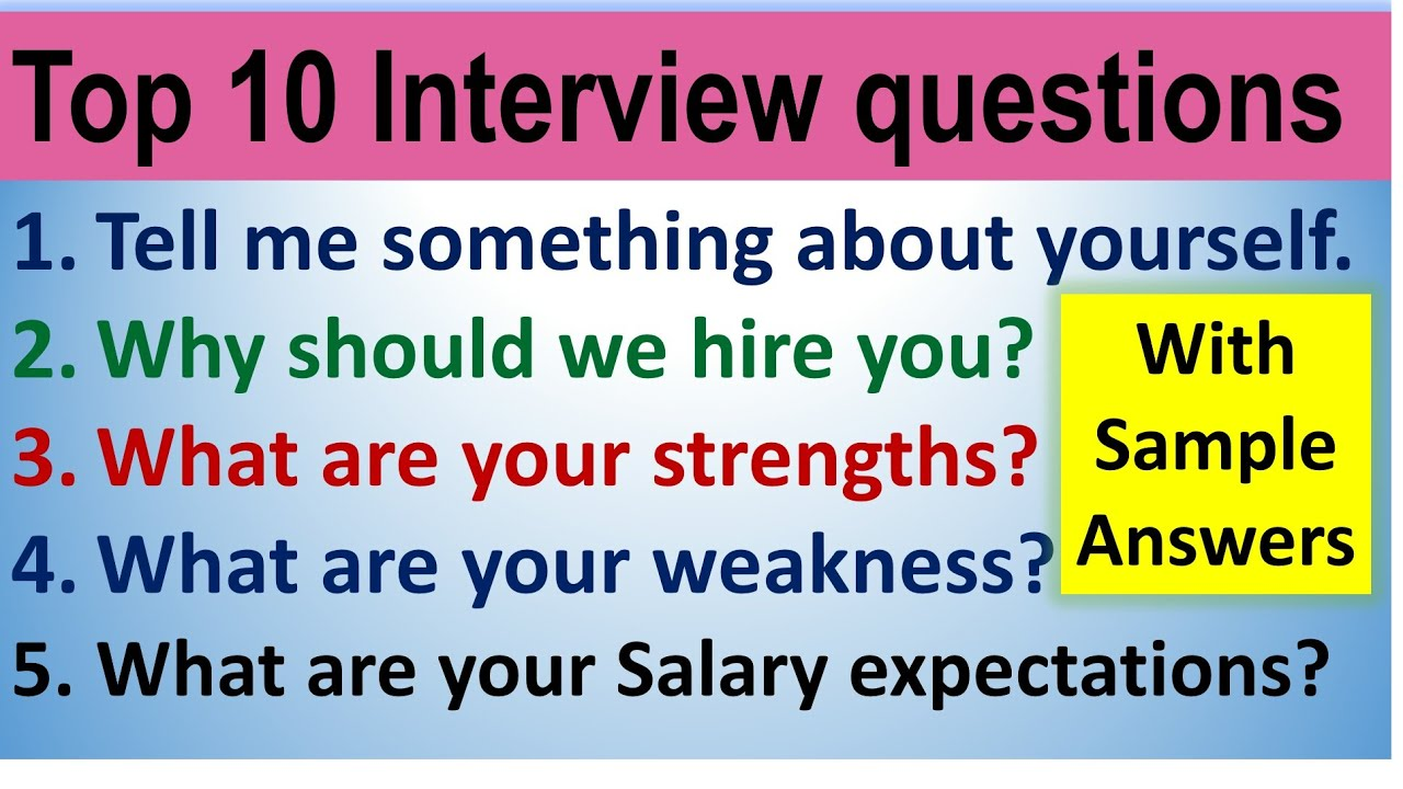 Top 10 Interview questions in English by Smile please world