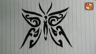 cara menggambar tribal kupu-kupu
