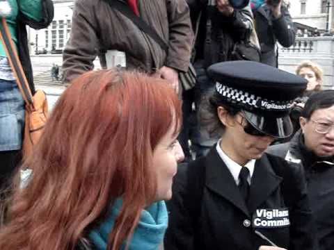Ginger Female Photographer detained by Vigilance Committee at London Demo