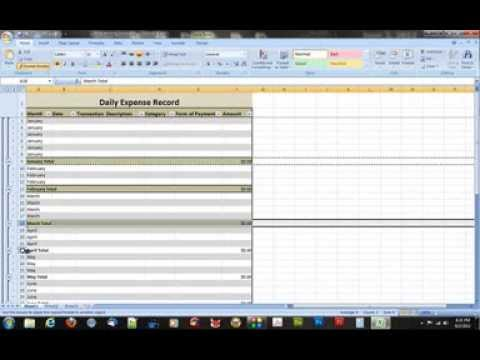 How to Create a Daily Expense Record in Microsoft Excel 2007 - YouTube