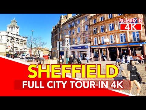 SHEFFIELD England   Full Tour of Sheffield City Centre in England - filmed in 4K