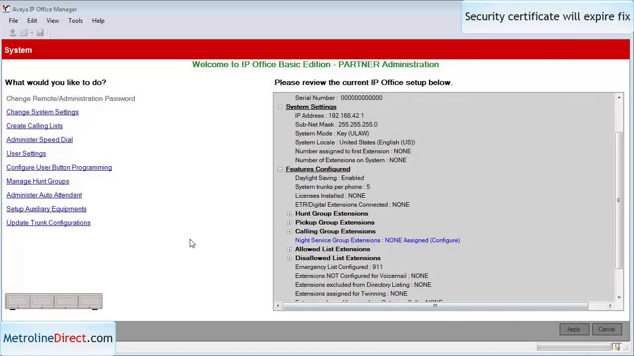 How to fix security certificate will expire issue on ip office.