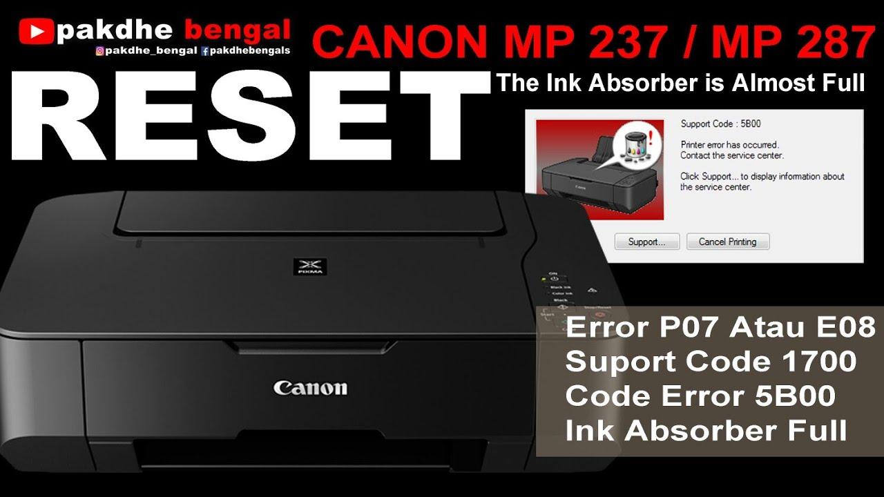 Cara Reset Canon Mp237 Dan Mp 287 Reset Canon Mp237 Canon Error