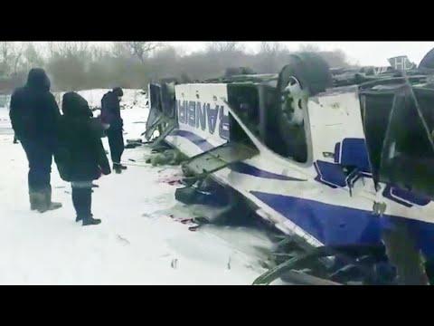 В Забайкальском крае пассажирский автобус упал с моста в реку.