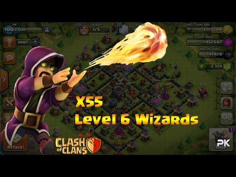 55 Level 6 Wizards | ALL  WIZARDS RAID | Clash Of Clans