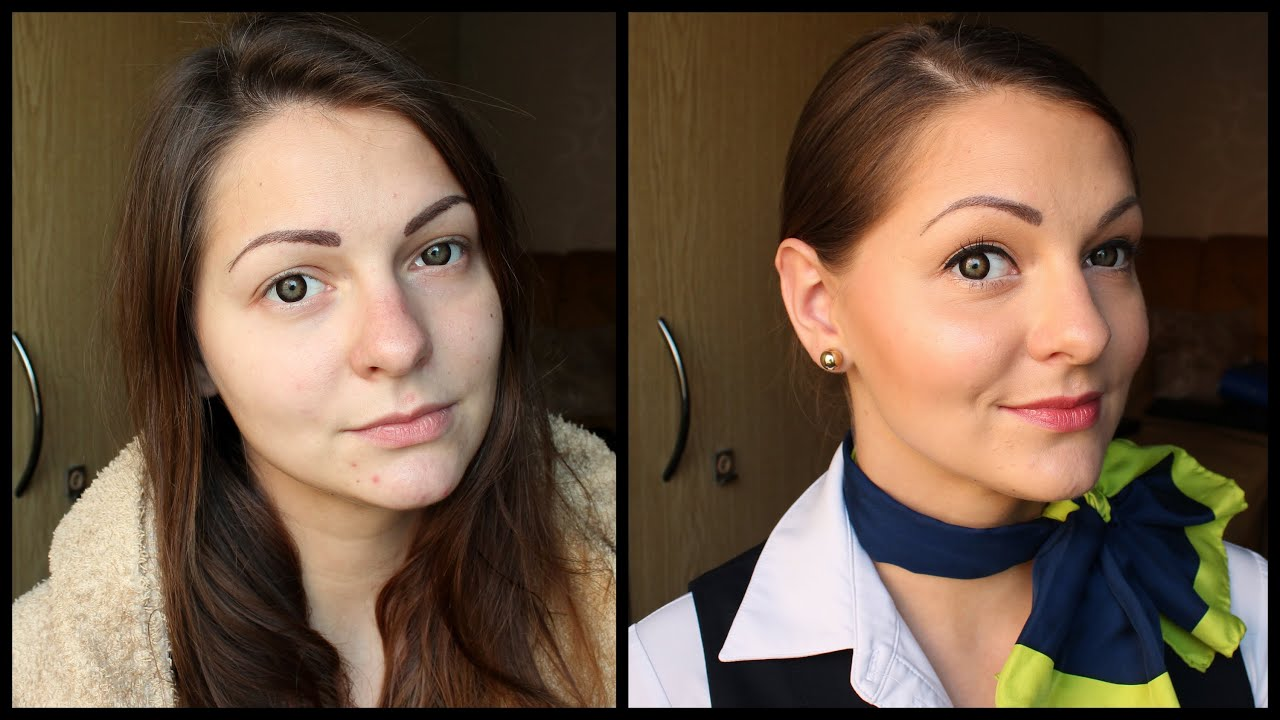 get ready me natural flight attendant makeup hair
