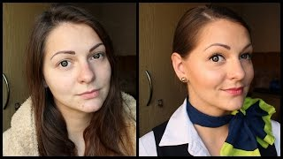Get Ready With Me | Natural  Flight Attendant Makeup + Hair